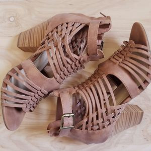 JUST FAB brown strappy sandals